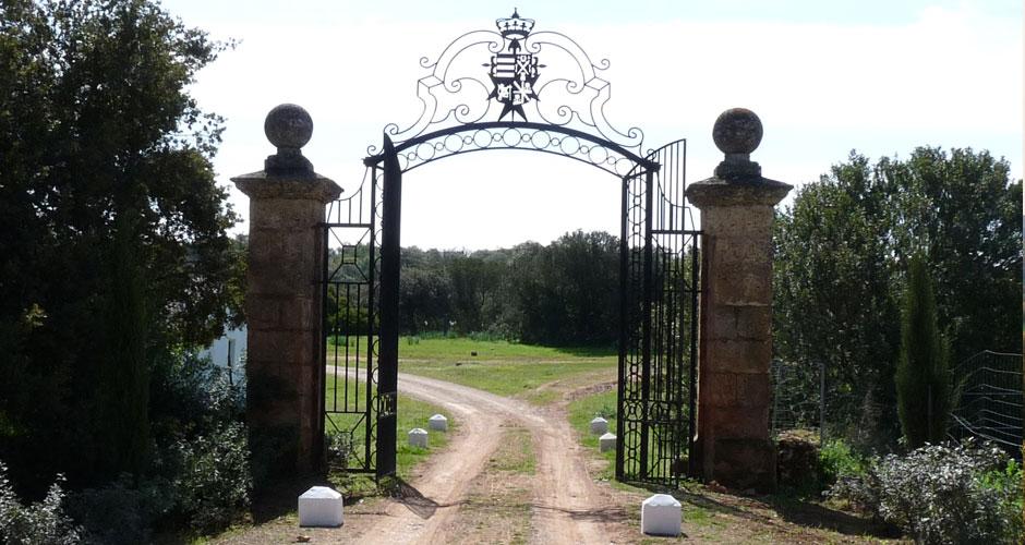 La impresionante verja de entrada con el escudo familiar da la bienvenida